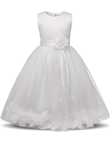 NNJXD Girl Tutu Flower Petals Bow Bridal Dress for Toddler Girl Size(140) 6-7 Years Big White