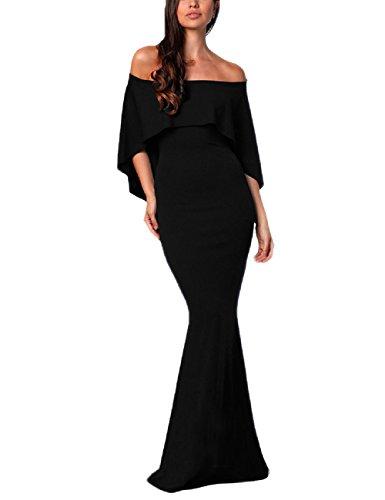 Black One Maxi Mujeres Noche Off Prom Sin Vestidos Lrud Shoulder 3 Elegante Cinturón xafq6wcpO7