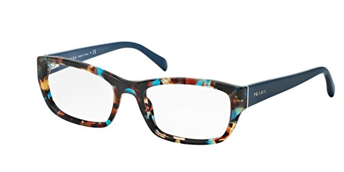New Prada Eyeglasses Frames - Prada PR18OV NAG1O1 Eyeglass, Havana Spotted Blue, 52 mm