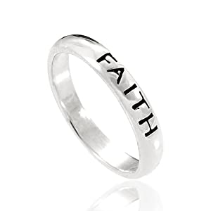 "925 Sterling Silver ""Faith"" Spiritual Inspiration Stackable Narrow Ring Nickel Free"
