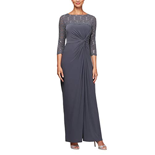 (Alex Evenings Women's Long Dress with Knot Front Detail (Petite and Regular), Smoke, 6P)