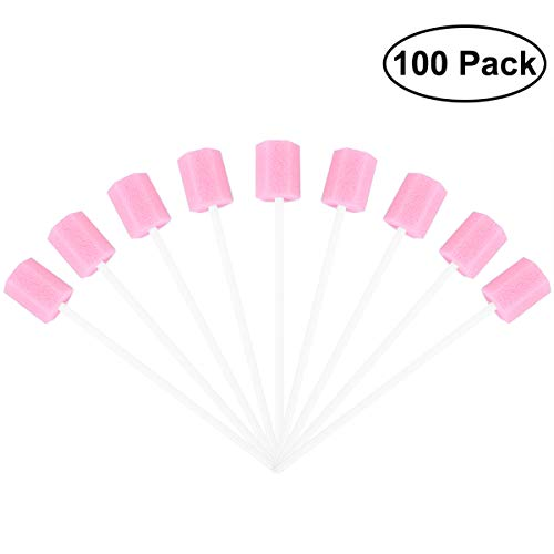 SUPVOX 100pcs Sponge Swab Disposable Tooth Mouth Cleaning Oral Care (Pink)