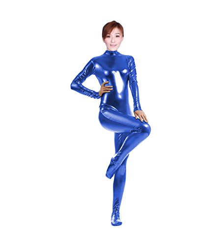 [WOLF UNITARD Shiny Metallic Unitard Catsuit Dancewear Large Blue] (Acrobat Costume Circus)