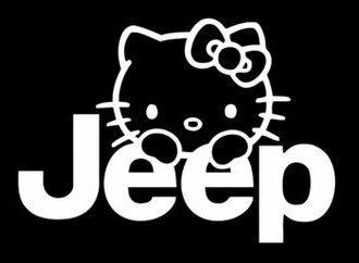 YWS Vinyl Sticker Decal - Hello Kitty Jeep - Sticker Laptop Car Truck Window Bumper Notebook Vinyl Decal SMA5550 (Kitty Hello Windshield Decal)