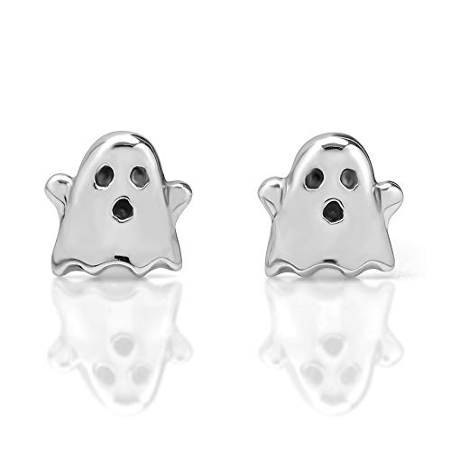 Sink Ghost - 925 Sterling Silver Tiny Boo Ghost 9 mm Post Stud Earrings