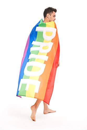 Vesiggio Gay Pride Cape and Flag, 3 x 5 Feet Wearable and Hangable LGBT Colors Rainbow -