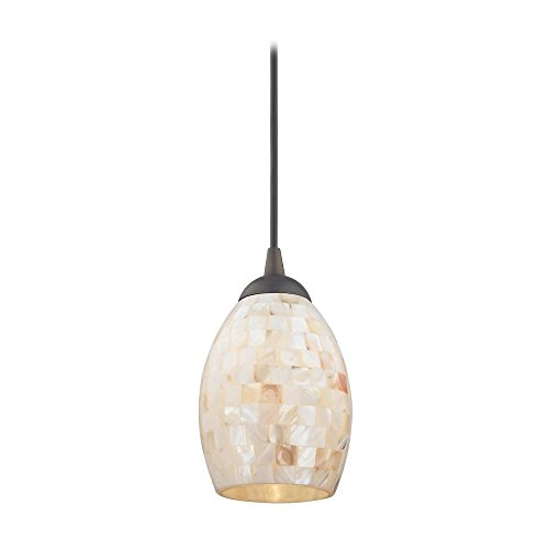Mosaic Mini-Pendant Light with Oblong Glass Shade in Bronze Finish by Design Classics