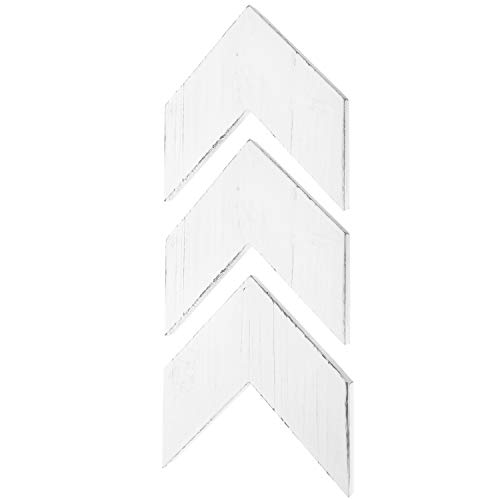 MyGift Vintage White Wood Wall-Mounted Decorative Arrowhead Chevrons, Set of 3