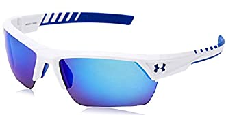 Under Armour Igniter 2.0 Sunglasses White & Blue / Blue Mirror Lens 69 mm