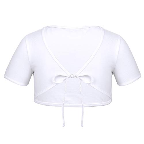 ACSUSS Kids Girls Cotton Short Sleeve Bolero Cardigan Ballet Dance Dress Wrap Tops Cropped Shrug Sweaters White 3-4