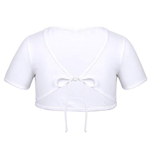 ACSUSS Kids Girls Cotton Short Sleeve Bolero Cardigan Ballet Dance Dress Wrap Tops Cropped Shrug Sweaters White - Bolero Girls Dress