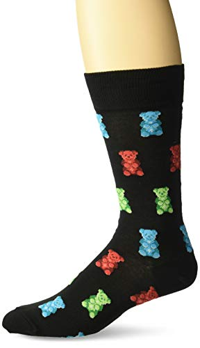 Hot Sox Men's Food and Booze Novelty Casual Crew Socks, Gummy Bears (black) Shoe Size: 6-12 ()