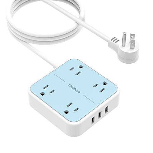 Flat Plug USB Power Strip with 9.8 FT Extension Cord, TESSAN 4 Widely Spaced Outlets 3 USB Desktop Charging Station, Small Compact Size Wall Mountable , 1250W/10A for Home, Office, Blue