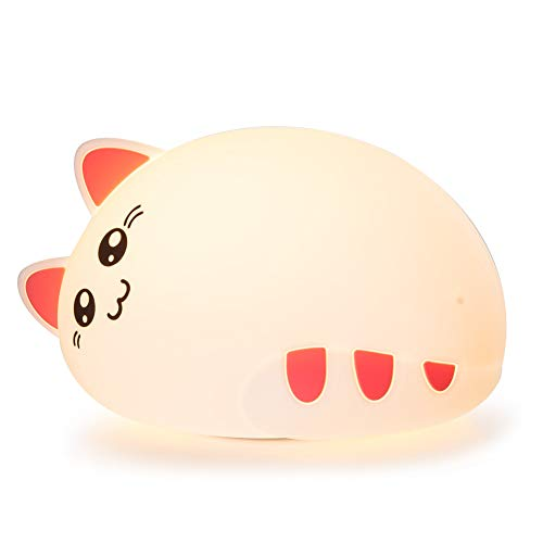 One Fire Baby Nursery Night Light for Kids, Cute Cat Soft Silicone Animal Night Lamp, Tap Control Color Changing Bedroom Breastfeeding Nightlight for Newborn Toddler Children Infant Girls (Cute) by Onefire