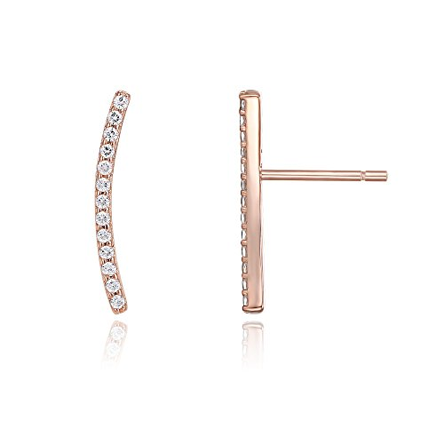 - PAVOI 14K Gold Plated Ear Crawler - Cuff Earrings Hypoallergenic Sterling Silver Stud Ear Climber Jackets - Rose