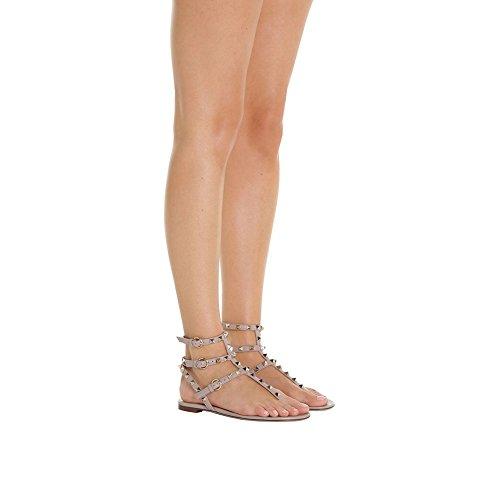 Verano Sandalias Casual Desnudo Pisos Mujer correa Tachonado Moda Confort T Lutalica qpz7w0p