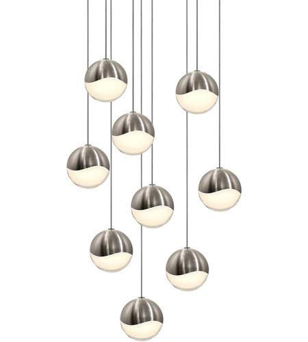 Sonneman Lighting Grapes 9-light LED Satin Nickel Round Canopy Pendant, White Glass with All Medium Grapes