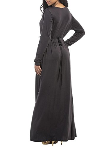 Colored Solid Coolred Neck Dress Women V Long Oversized Deep Black Fashional UwaHq8Awn