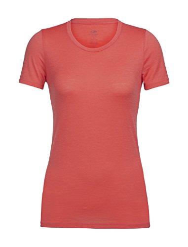 (Icebreaker Merino Women's Tech Lite Short Sleeve Low Crewe Athletic T Shirts, Poppy Red,)