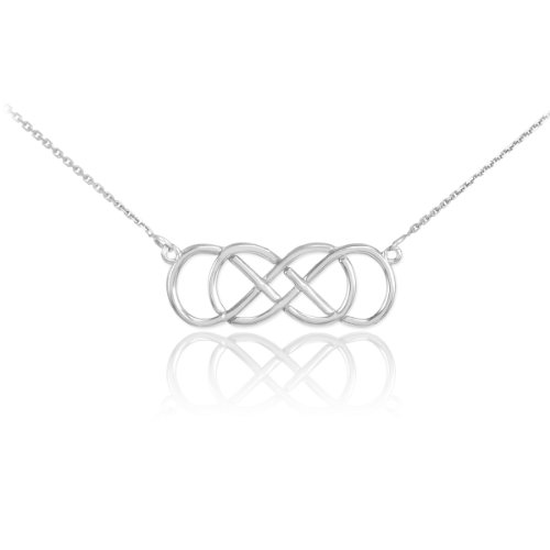 Infinity Knot Necklace - 925 Sterling Silver Double Infinity Pendant Necklace, 16