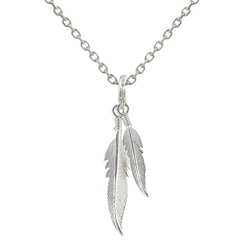 (Les Poulettes Jewels - Sterling Silver Necklace Two Feathers - size 45 cm)