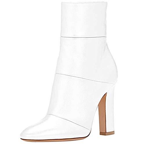 Donna Jushee CM Bianco a Stivali Tacco Spillo Leather Cerniera Juworr 12 TAqOaq