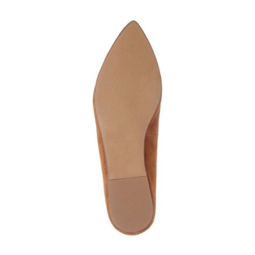 YDN Women Low Heels Loafers Slip On Oxford Pointed Toe Flats Pumps Slide Shoes Tan 0JL5FU