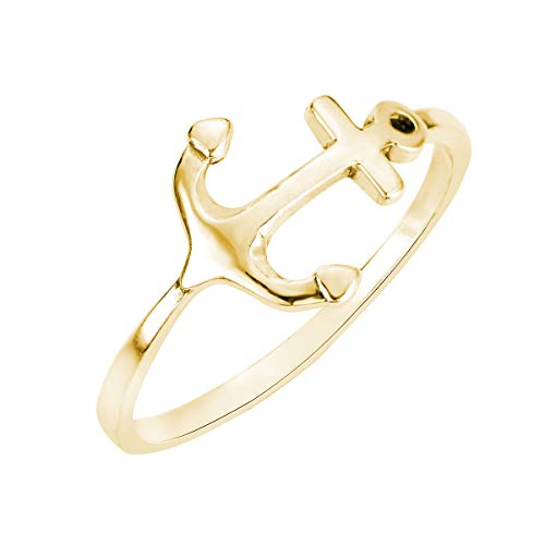 CloseoutWarehouse Yellow Gold-Tone Plated Sterling Silver Anchor Ring Size 7