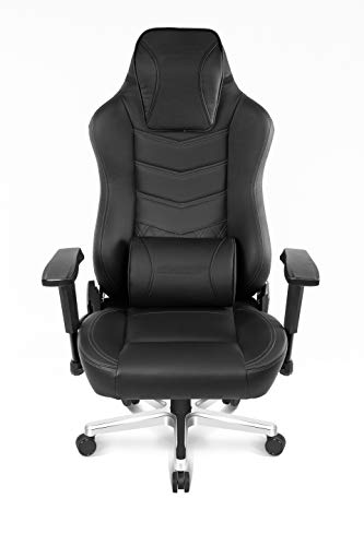 AKRacing Office Series Onyx Deluxe Executive Real Leather Desk Chair with High Backrest, Recliner, Swivel, Tilt, Rocker & Seat Height Adjustment Mechanisms, 5/10 Warranty - Black ()