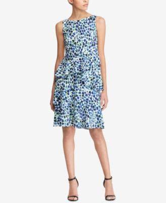 LAUREN RALPH LAUREN Womens Ruffled Sleeveless Cocktail Dress Blue 10
