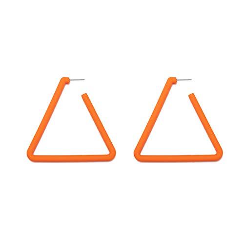 (GUNIANG Large Colorful Orange Triangle Hoop Earrings for Women Girls, Geometric Earring Hoops for Sensitive Ears Fun 80s)