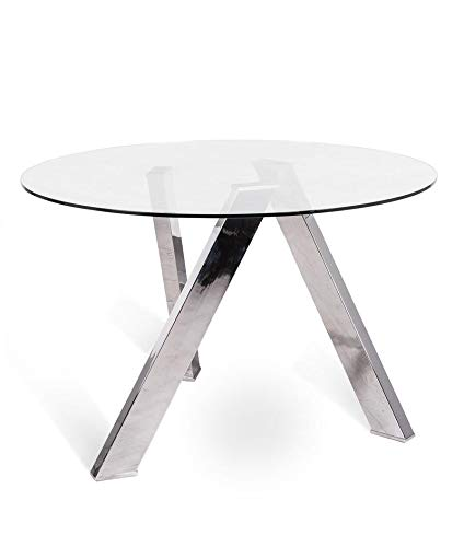 Tavolo da cucina fisso in vetro - ST545, acciaio: Amazon.it: Casa e ...