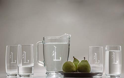 -Piece Drinks Set, Personalized Dimples 5-Piece Drink Set, Pitcher & Glasses Set, Engraved Drinks Pitcher with Matching Glasses, 1 Pitcher, 4 Glasses. Engraved in Font Shown. ()