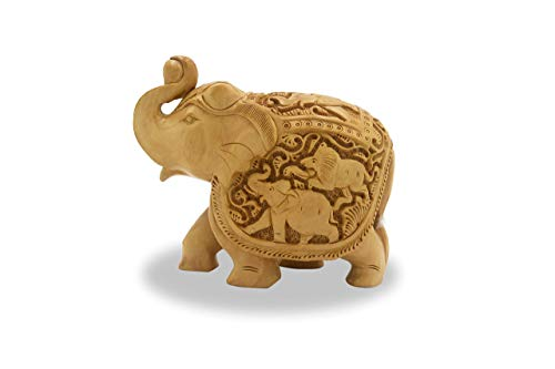Elephant with Trunk up 6 Inches handmade in Wood - Intricate carving of lion elephant battle on the sides