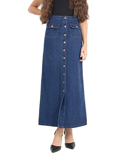 Jupes 44 Ladies Jupe Taille Femmes Nouveau 36 Denim Indigo Indigo Longue Bouton SS7 5qvXIwp