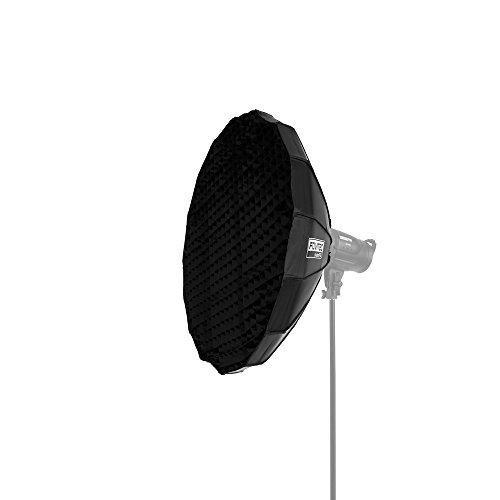 Fovitec StudioPRO – 1x 32 inch Portrait Beauty Dish Softbox w/ Grid Included – [White Interior][For Strobes][Bowens Mount][Easy Assembly]
