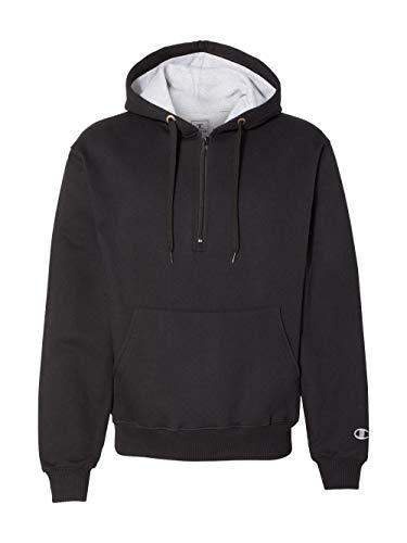 Champion S185 90/10 Cotton Max Quarter-Zip Hood - Black - ME
