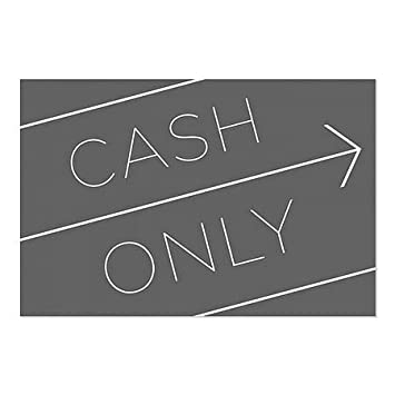 5-Pack Basic Black Window Cling CGSignLab Cash Only 27x18