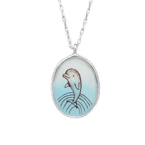 (Reversible Enamel and Sterling Silver Manatee Necklace and Dolphin Necklace on 18