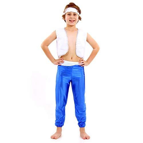Fantasia Árabe Basic Infantil Sulamericana Fantasias Azul/Branco G 10/12 Anos