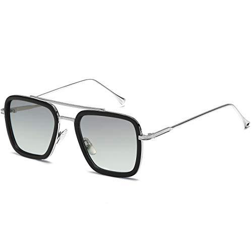SHEEN KELLY Luxus Retro Sonnenbrille Tony Stark Brillen Quadratische Metallrahmen für Männer Frauen Klassiker Sonnenbrille Piloten Gold Schrittweise Linsen