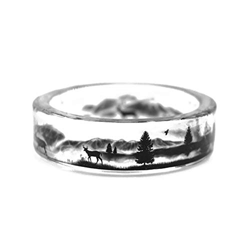 kingfishertrade-ltd New Arrival Handmade Deer in the Mountains Transparent Resin Women/Men's Charm Ring - Deer Mountain