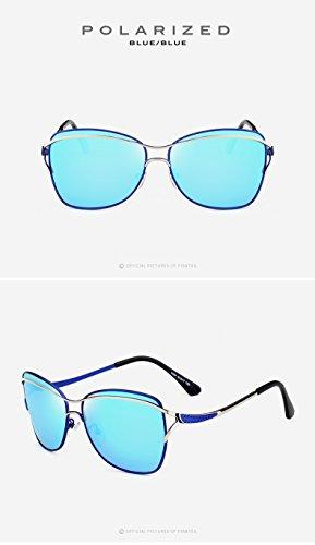 Moda Vintage Blue de Gafas de Viaje de Mujeres Gafas Aire de Gafas Sol para para Adultos de conducción Libre Sol de UV400 Grandes Sol al Polaroid Ruanyi wqzF86xa