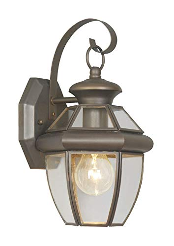 (Livex Lighting 2051-07 Monterey - One Light Outdoor Wall Sconce, Bronze Finish with Clear Flat)