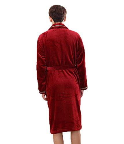 Casual Pigiama Autunnale Invernale Cardigan E Uomo Casa Red Dimensioni Zjexjj L Flanella Da Accappatoio Spesso Abito colore In n8ww7xqAP