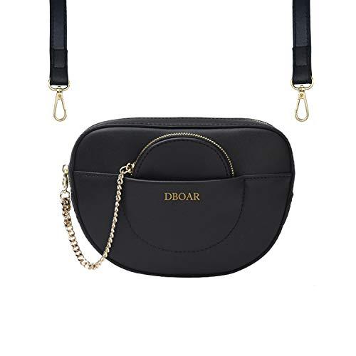 Womens Mini Waist Bag Fashion Fanny Packs PU Leather Cell Phone Pocket Purse (Black-1)