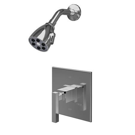 Newport Brass 3-2024BP/01 Cube 2 Single Handle Pressure Balanced Shower Trim Only with Metal Lever Handle, Forever Brass