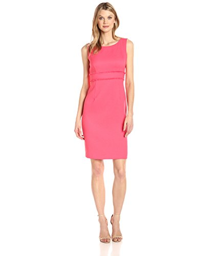 Textured Sheath Dress (Kasper Women's Textured Sheath Dress with Waist Treatment, Coral Reef, 10)