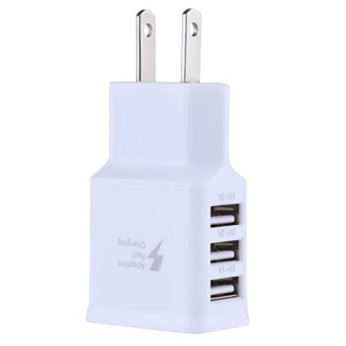 certainPL 3-Port USB Travel Wall Charger Adapter, 5V/ 2A Fast Charger Plug for iPhone X/8/7/6S/6S Plus, iPad Pro/Air 2/mini2, Galaxy S7/S6/Edge/Plus, Note 5/4, LG, Nexus, HTC, and More (White)