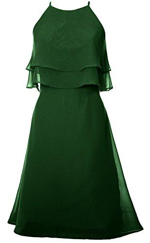 MACloth Chiffon Cocktail Dunkelgrun Prom Dress Tiered Short Bridesmaid Halter Dress Gown aSwxaRfr
